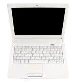 Offener Laptop des Weiß mit schwarzem Bildschirm stockfotos