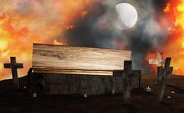 Offener Sarg des Friedhofs mit Kreuz im Feuer und im Nebel mit Mond 3d-il vektor abbildung