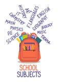 Offener Schulrucksack voll Briefpapier mit Hand schriftlichen Schulfächern lizenzfreie abbildung