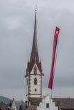 Offener St Jakob Zurich Szwajcaria Kościelny Zegarowy wierza Zdjęcia Royalty Free
