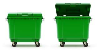 Offener und geschlossener grüner Abfallbehälter Stockfotos
