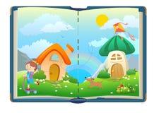 Offenes Buch über lustige Mädchen und magische Welt Lizenzfreies Stockfoto