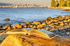 Offenes Buch auf einem Klotz Lizenzfreie Stockfotos
