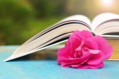 Offenes Buch auf einer blauen Tabelle in der Natur Lizenzfreie Stockfotografie