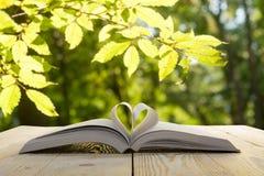 Offenes Buch auf Holztisch auf natürlichem unscharfem Hintergrund Herzbuchseite Zurück zu Schule Kopieren Sie Platz Stockbilder