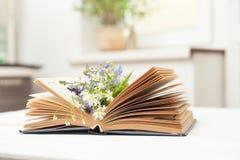 Offenes Buch auf weißer Tabelle Lizenzfreies Stockfoto