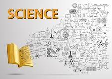 offenes Buch 3D mit Wissenschaft kritzelt Fliegen in das Buch Stockfotos