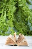 Offenes Buch des gebundenen Buches, auf Holztisch Natürlicher Hintergrund Zurück zu Schule Kopieren Sie Raum für Text Lizenzfreie Stockfotografie