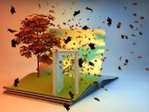 Offenes Buch mit Baum auf der Seite Stockfotografie