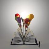 Offenes Buch mit Bleistiftglühlampe 3d Stockfoto