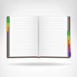 Offenes Buch mit den bunten Bookmarks beiseite lokalisiert Stockbilder