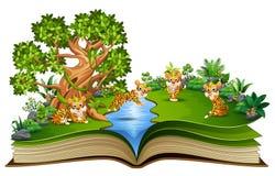 Offenes Buch mit der Gruppe der Tigerkarikatur spielend im Fluss