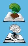 Offenes Buch mit einem glühenden Gehirn Stockbilder