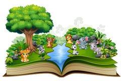 Offenes Buch mit Fluss- und Babytierkarikatur