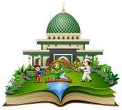 Offenes Buch mit glücklichen Moslems scherzt die Karikatur, die vor einer Moschee spielt stock abbildung