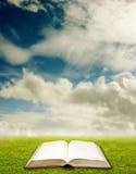 Offenes Buch mit Landschaftshintergrund Lizenzfreies Stockfoto