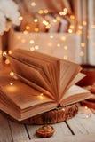 Offenes Buch mit Lichtern lizenzfreie stockfotografie