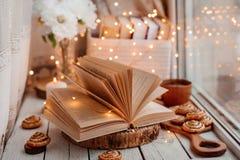 Offenes Buch mit Lichtern lizenzfreies stockfoto