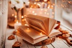 Offenes Buch mit Lichtern stockbilder