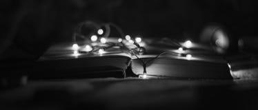 Offenes Buch mit Lichtgirlanden in einer Schwarzweiss-Art lizenzfreie stockfotos