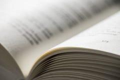 Offenes Buch mit Schwalbenschärfentiefe Lizenzfreies Stockbild