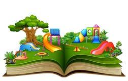 Offenes Buch mit Spielplatz auf einem weißen Hintergrund vektor abbildung