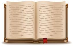 Offenes Buch mit Text und rotem Bookmark Lizenzfreies Stockbild