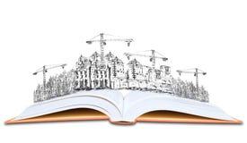 Offenes Buch und Hochbauwissen der Architektur Stockfoto
