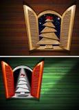 Offenes Fenster mit Weihnachtsbaum vektor abbildung