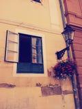 Offenes Fenster und Blumen unter Laterne Lizenzfreie Stockfotografie