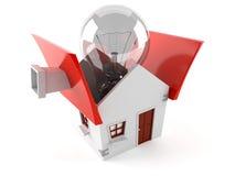 Offenes Haus mit Glühlampe Lizenzfreies Stockfoto