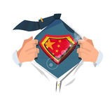 Offenes Hemd des intelligenten Mannes zu Show ` China-Flagge ` Lizenzfreie Stockbilder
