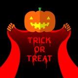 Offenes rotes Kap des Halloween-Steckfassung-Olaternenkürbis-Kopfes Lizenzfreie Abbildung