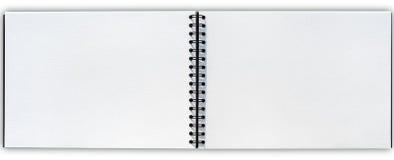 Offenes Zeichnungsbuchisolat mit Beschneidungspfad Stockfotografie
