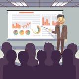 Offentlig affärsutbildning, konferens, begrepp för seminariumpresentationsvektor royaltyfri illustrationer