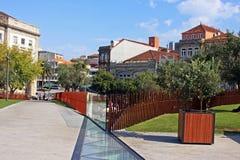 Offentlig fyrkant i centrala Lissabon Arkivfoton