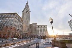 Offentlig fyrkant i i stadens centrum Cleveland Fotografering för Bildbyråer