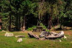 Offentlig grillfestplats i Engadin St Moritz, Schweiz Fotografering för Bildbyråer
