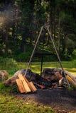 Offentlig grillfestplats i Engadin St Moritz, Schweiz Arkivbilder