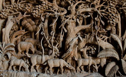 Offentlig hand snidit hjortträ Arkivbilder