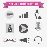 Offentlig kommunikationssymbolsuppsättning vektor illustrationer