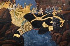Offentlig konstmålning på Wat Phra Kaew Arkivfoto