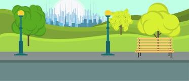 Offentlig Park City vektor Landskap för fritidsäsongmiljö som är naturligt med bänkbakgrund Lekplatssommarlägenheten kopplar av a vektor illustrationer