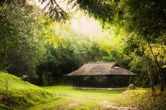 Offentlig paviljongrunda vid den gröna skogen, stil för olje- målarfärg Arkivbild