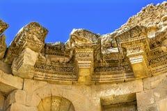 Offentlig springbrunn forntida Roman City Jerash Jordan för garneringar Arkivbilder