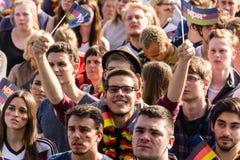 Offentlig visning för fotboll under Kiel Week 2016, Kiel, Tyskland Arkivbilder
