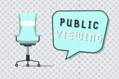 Offentlig visning för ordhandstiltext Affärsidé för att i stånd ska vara sett eller bekant vid alla som är öppen till den allmänn stock illustrationer