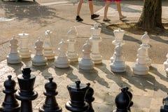 Offentliga schacklekar i bastioner parkerar, Genève royaltyfri fotografi