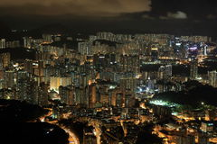 Offentligt gods av Hong Kong i natt Royaltyfri Foto