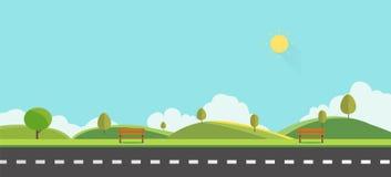 Offentligt parkera med bänken med illustrationen för himmelbakgrundsvektorn härlig naturplats vektor illustrationer